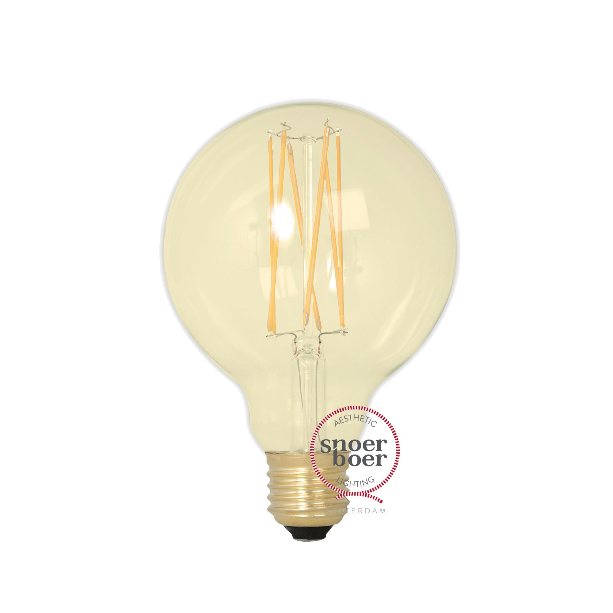 Snoerboer Led O 95mm Globe 4w E27 Dimbaar Gold Glass Helder Glas Led Lampen
