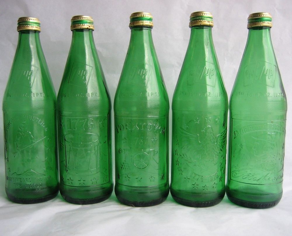 34 95 Vtg Set Of 5 Green Glass 7up Bottles With Caps