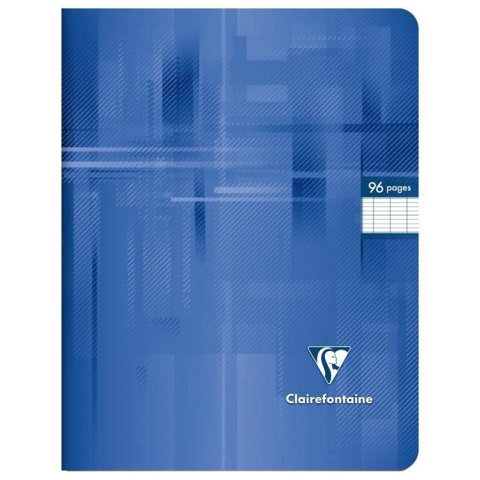 CLAIREFONTAINE – Carnet de notes – 17 x 22 – 96 pages Seyès – Couverture pelliculée – Couleur bleu   – Products