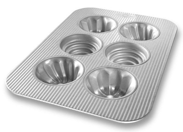 USA Pan Bakeware Aluminized Steel 6 Well Variety Cakelette Pan, Made in the USA