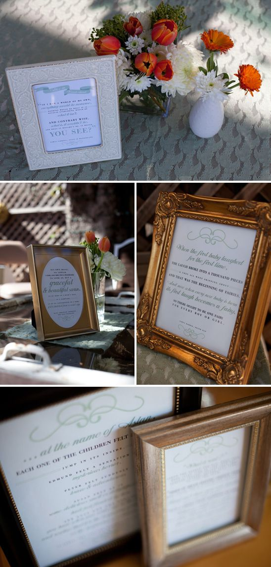 Once Upon a Time Baby Shower - love all the frames with cute sayings ...