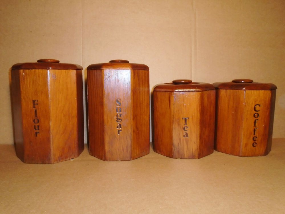 Vintage Wooden Canister Set 4pc Octagon Shape Flour Sugar Coffee Tea Canister Sets Wooden Canisters