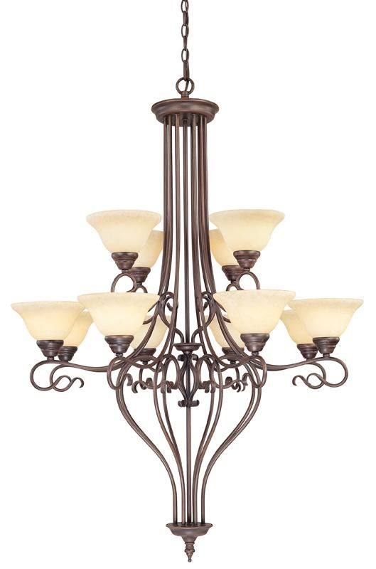Twelve Light Vintage Scavo Glass Imperial Bronze Up Chandelier : SKU V108-6138-58 | Connecticut Lighting Centers