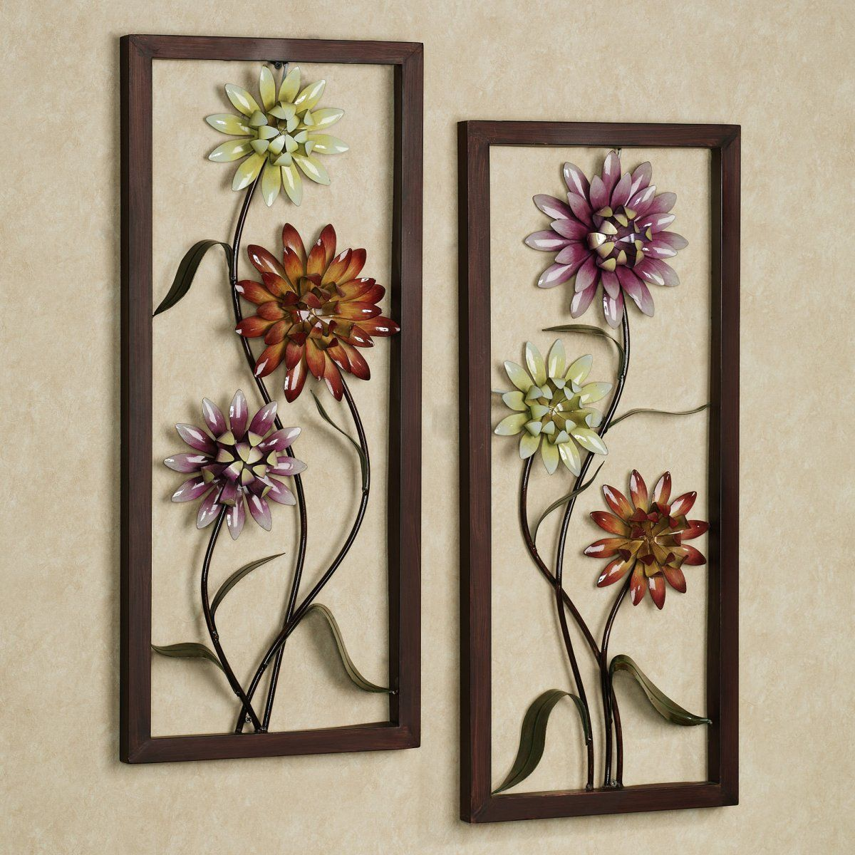 Amazing colorful metal floral wall art in wooden frame for modern living room decoration 33 interior decoration designs in smart floral arrangements