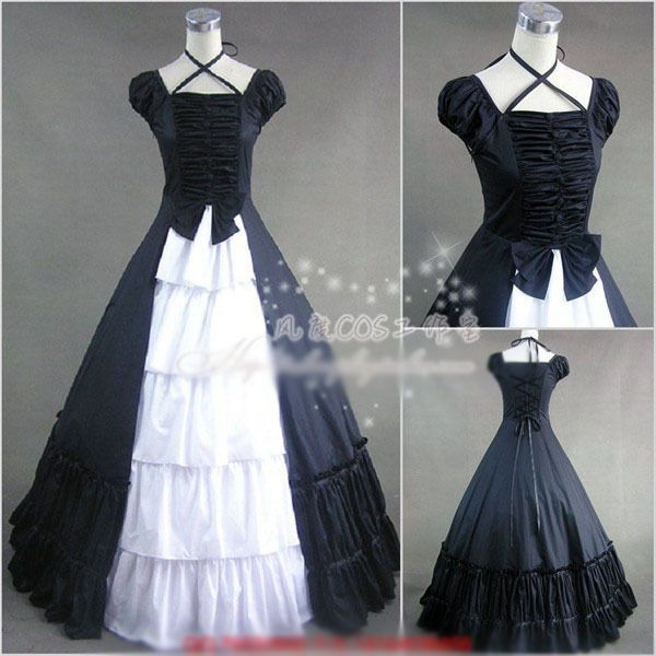 Details about Victorian Lolita Gothic Palace Princess Slim Black and White Longuette Dress #dressesfromthesouthernbelleera