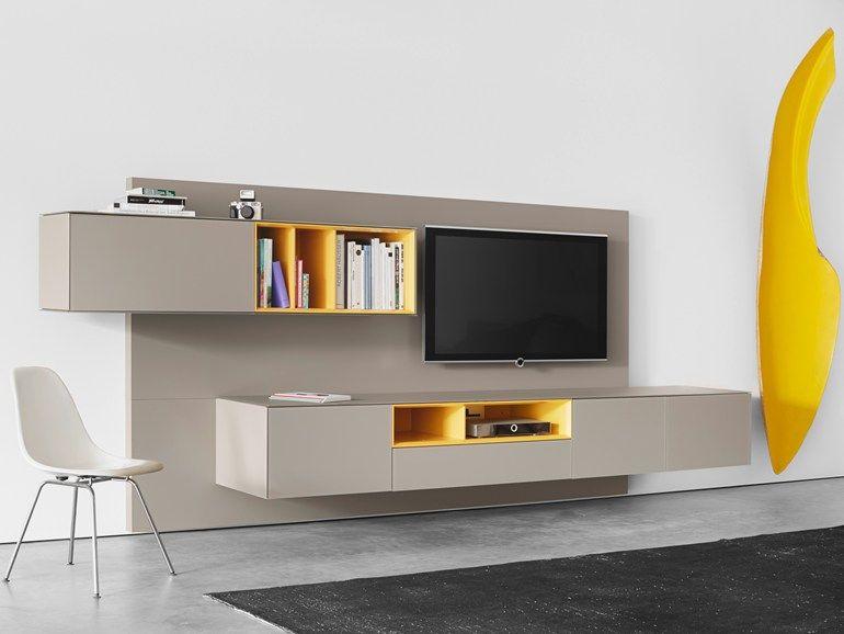 Tavolino Tv ~ Parete attrezzata fissata a muro laccata con porta tv soma living