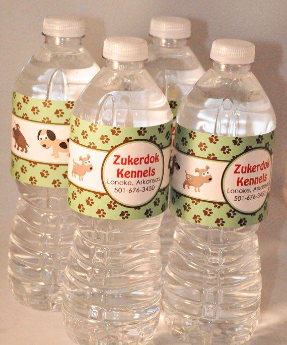 PRINTABLE WATER BOTTLE labels Dog or Puppy by MemorableMomentsSt, $7.00