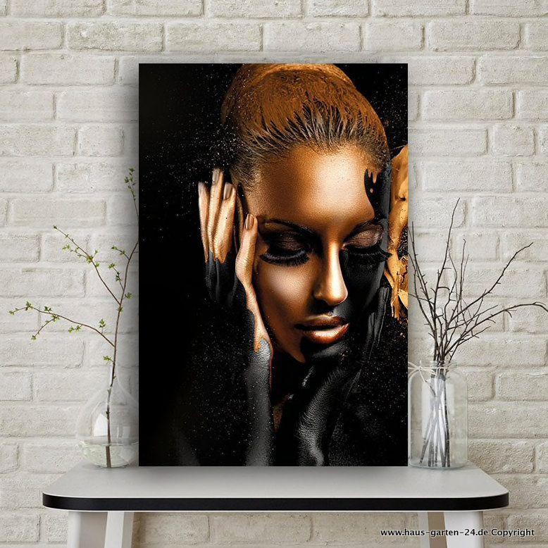 wohnzimmer dekoration schwarz gold damen gesicht olgemalde auf leinwand haus und garten gunst in 2020 gunstig billig fotoleinwand günstig bestellen