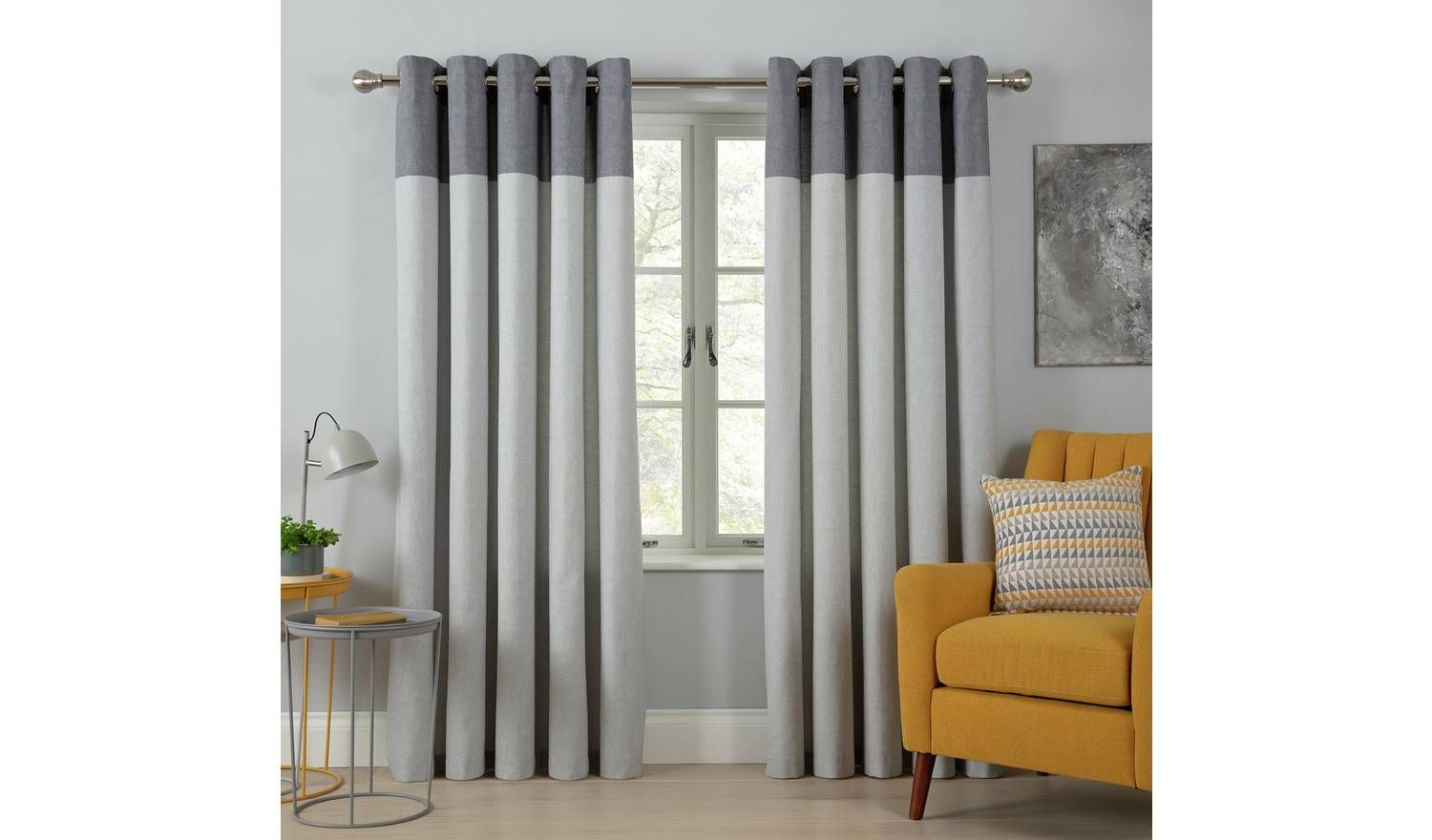 Buy Argos Home Printed Header Unlined Eyelet Curtain Dove Grey