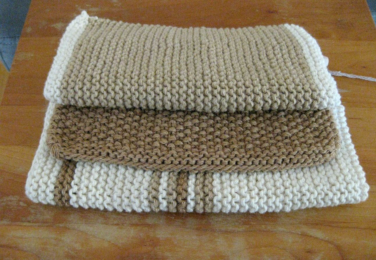 3 knit dish cloths in organic cotton yarn | Knit 1, purl 2, drop ...