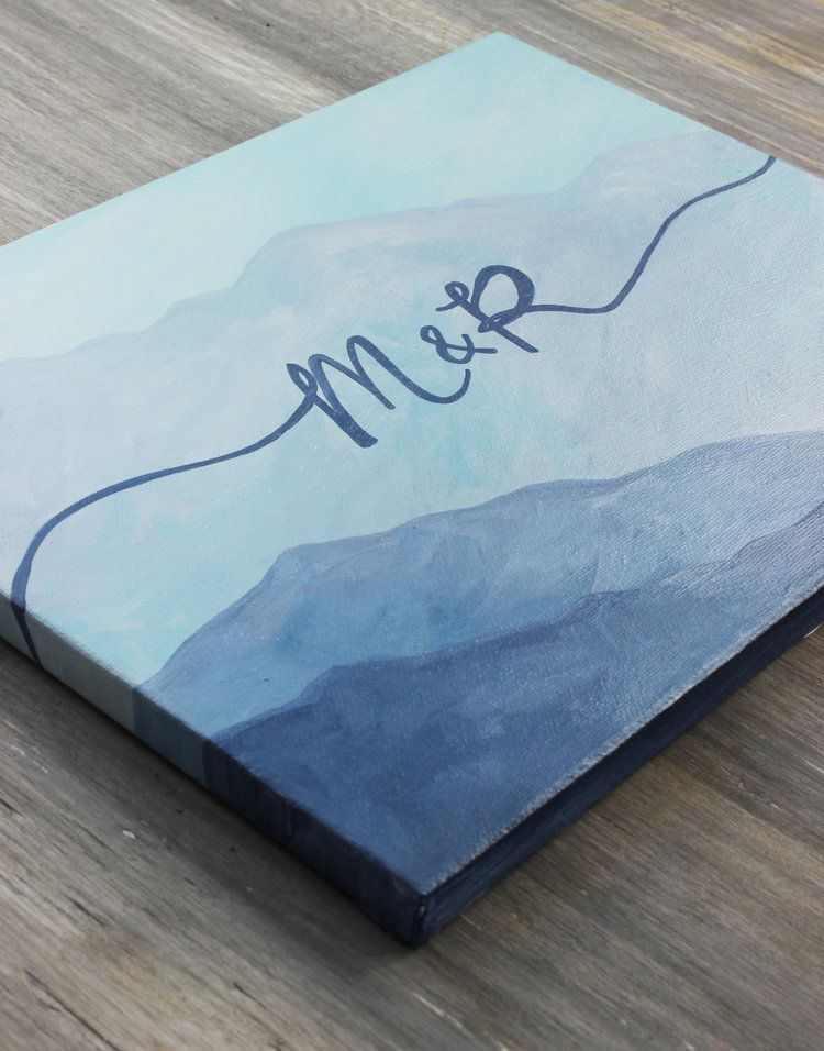Blue mountain wedding guest book art hand painted canvas