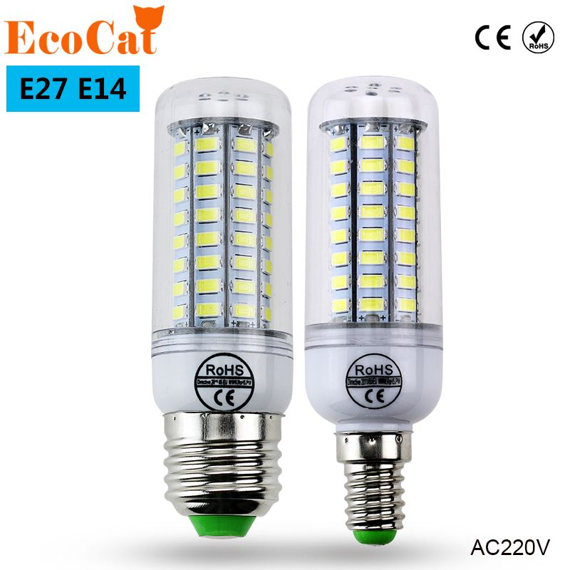 Eco Chat Super Led Ampoule E27 E14 220 V Smd 5730 Led Lampe 24 36 48 56 69 Led Ac 230 V 5730smd Led Mais Ampoule Lumiere Lustre 220 240 V Light Bulb Chandelier Lighting