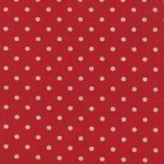 """Linen Mochi Dot (Red)  70% cotton/30% linen, lightweight canvas, 44/45"""" wide"""
