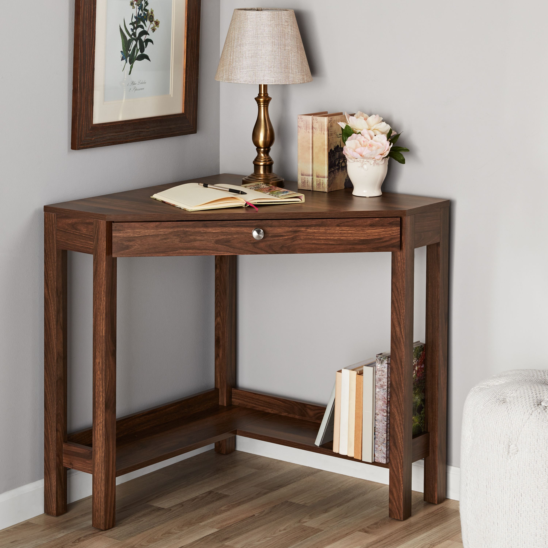 Mainstays Corner Writing Desk With Drawer And Lower Shelf Brown Finish Walmart Com In 2020 Corner Writing Desk Writing Desk With Drawers Desk With Drawers