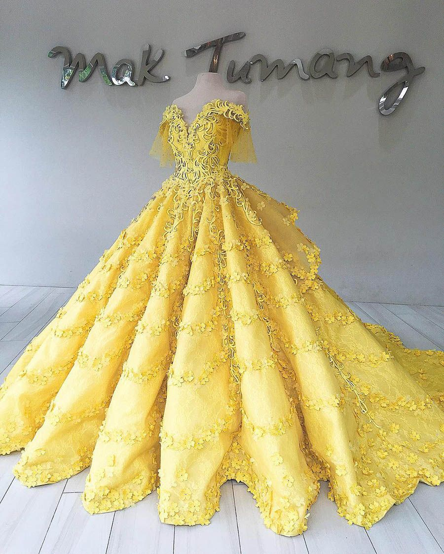 Mak Tumang The Sensational Wedding Dress Designer You Need To Know Yellow Wedding Dress Pretty Quinceanera Dresses Gowns