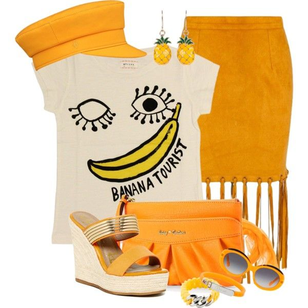 Banana Smile by feelgood35 on Polyvore featuring moda, Morley, Missguided, Modern Rush, Juicy Couture, Lady Fox, The Rubz, Courrèges and Idea Plus