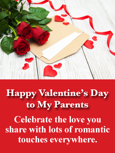 Classic Red Roses Happy Valentine S Day Card For Parents Birthday Greeting Cards By Davia Valentine S Day Card Messages Valentine Messages Sweet Valentine Messages