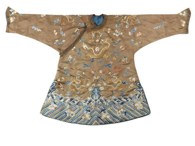 A brown-ground silk embroidered child's robe, Late Qing Dynasty