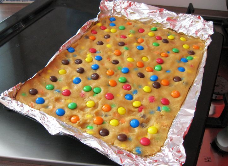 Thick and chewy M cookie bars.