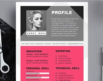 Hot Pink Resume Template Cv Template Hot Pink Cv Template