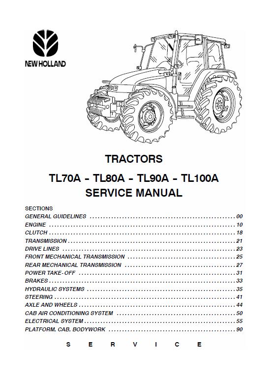 New Holland Tl70a Tl80a Tl90a Tl100a Tractor Service Manual New Holland Tractors Manual