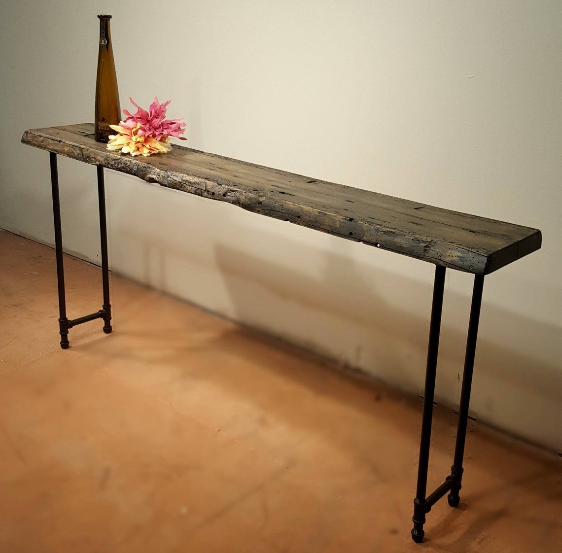 - Narrow Console Table, Reclaimed Wood Table, Accent Table, Long