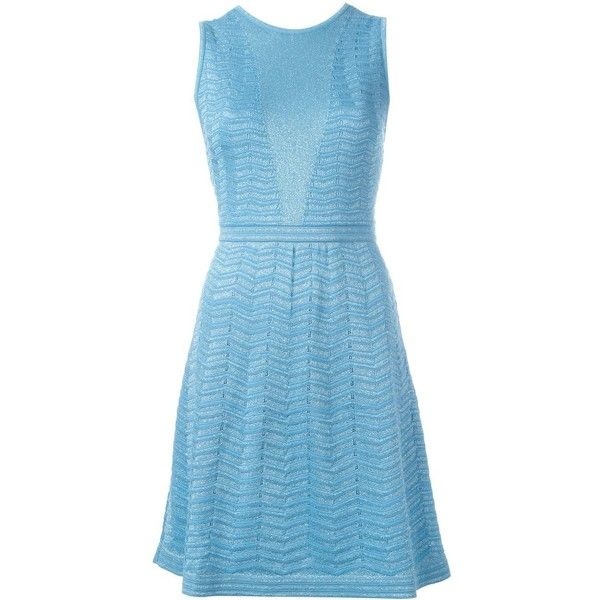 M Missoni flared dress ($640) ❤ liked on Polyvore featuring dresses, blue, blue dress, blue fit-and-flare dresses, flare dress, flared dresses and m missoni