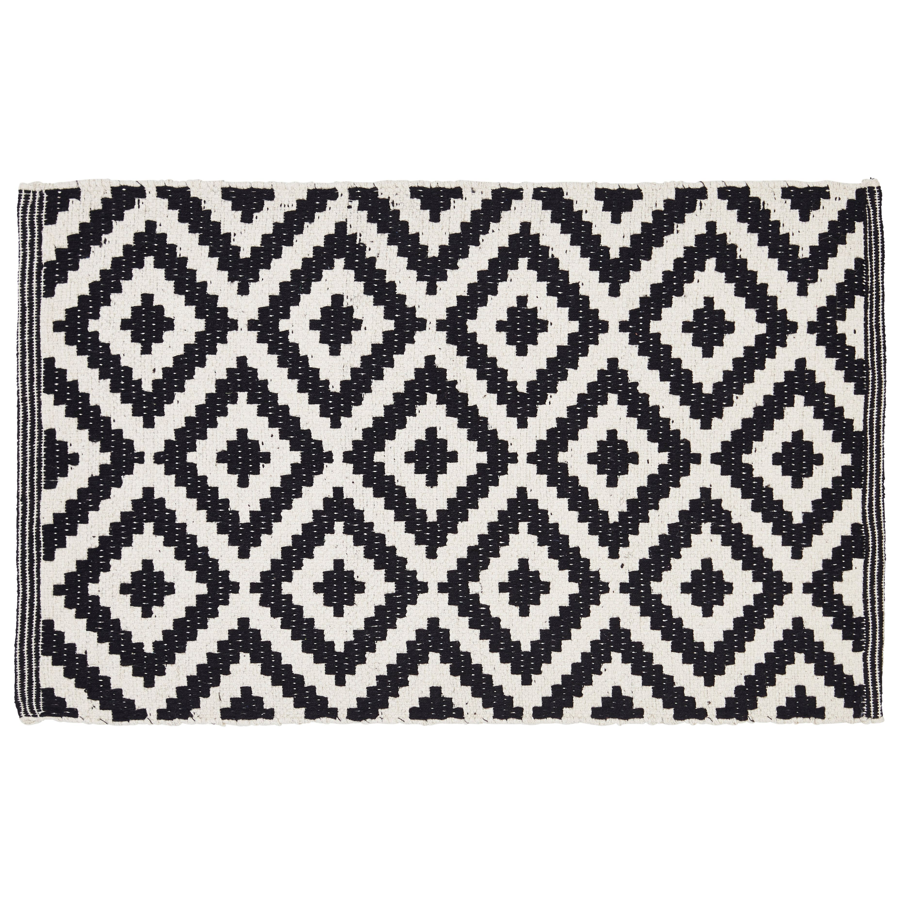 Colours Harrietta Black & White Diamond Cotton Door Mat (L)75cm (W)45cm | Departments | DIY at B&Q