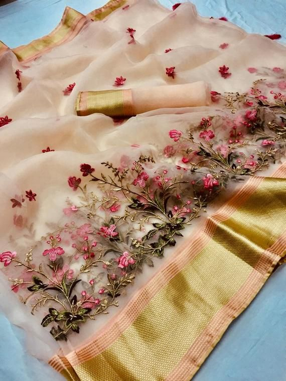 6ffcb46243 Traditional ORGANZA EMBROIDERY Saree with Bridal Christmas Gift Occasional  Wear Party Wedding Light
