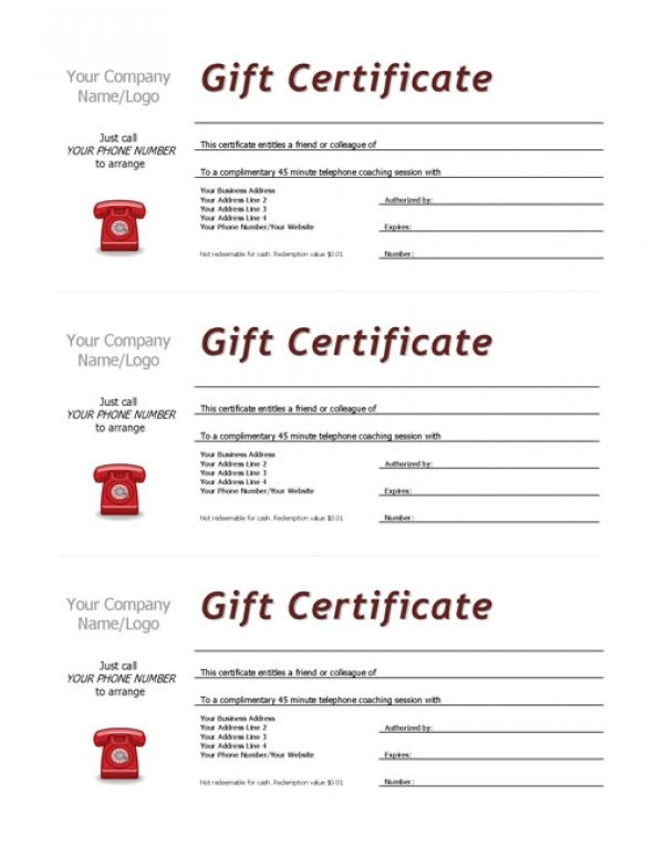 Complimentary Session Vouchers Template  Template