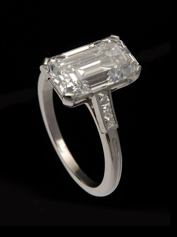 90d145375 Tiffany & Co. antique 1920's Deco platinum 3.95 carat diamond engagement  ring, prong set at center with one D color, rectangular emerald cut diamond  ...