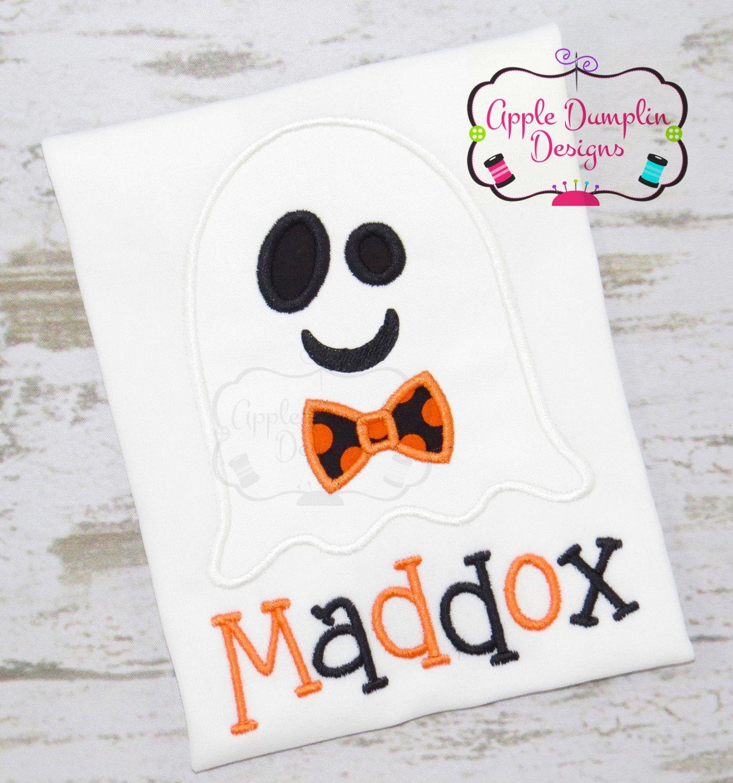 Halloween Bowtie Ghost Applique Machine Applique