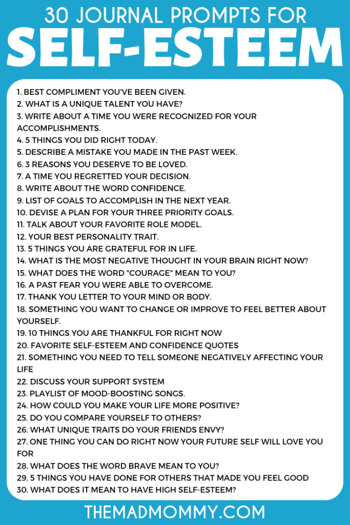 30 Journal Prompts for Self Esteem Boosting and Positive Thinking