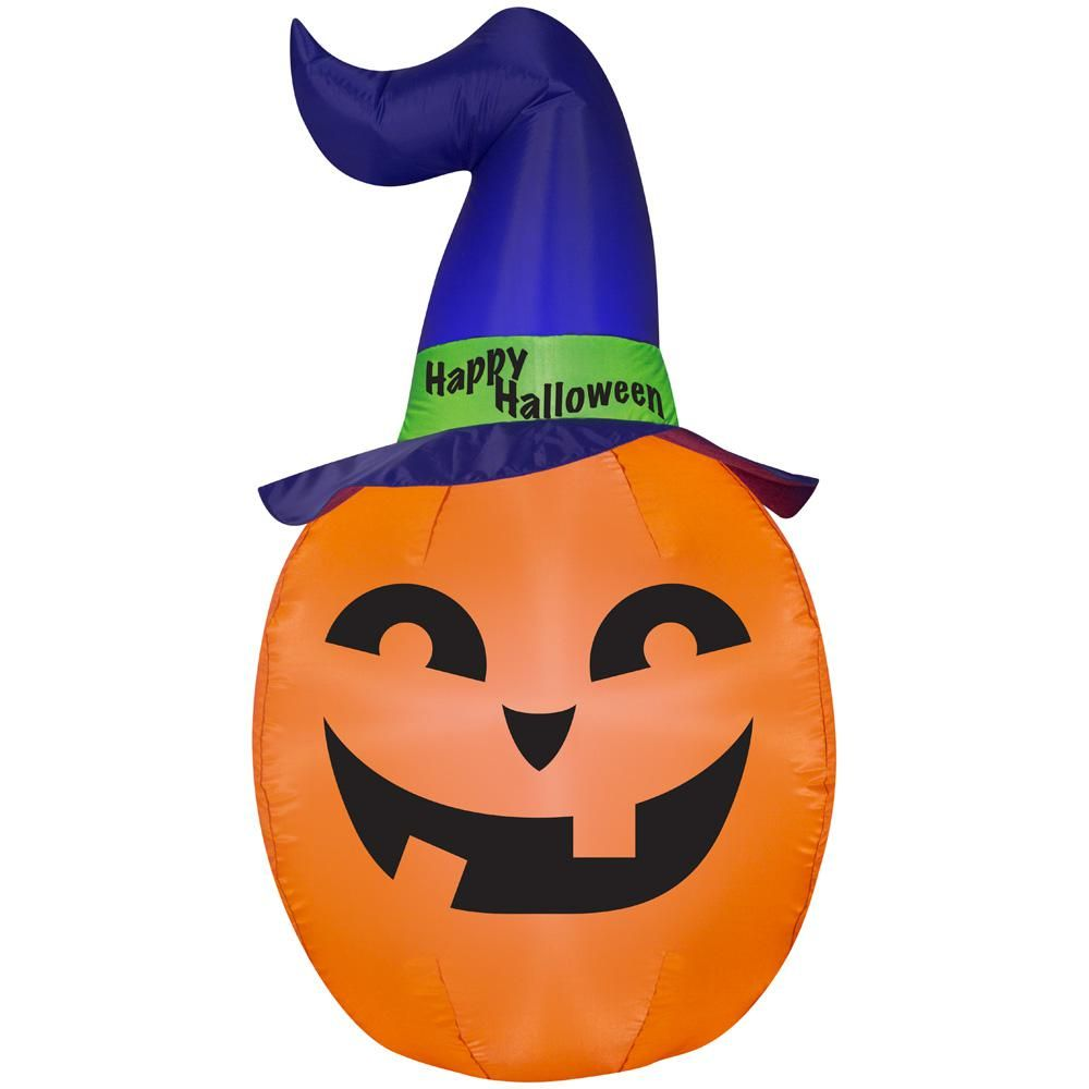 70292df9be0 4.99 ft. Pre-Lit Inflatable Pumpkin with Witch Hat Airblown ...