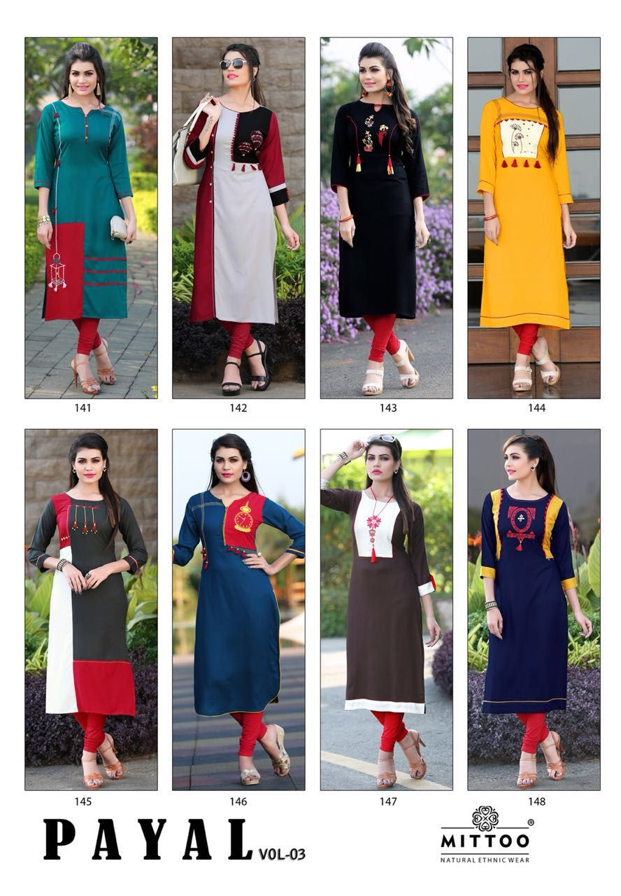 504072b06b Mittoo Payal Vol 3 Kurti Wholesale Catalog 8 Pcs | kurtis designs ...