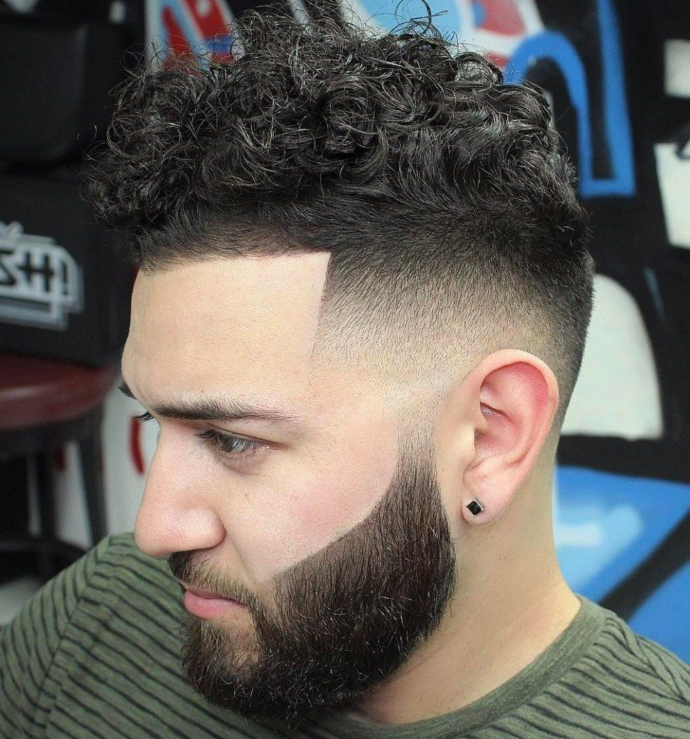 Curly Top With Line Up And Fade Mens Long Hairstyles Pinterest
