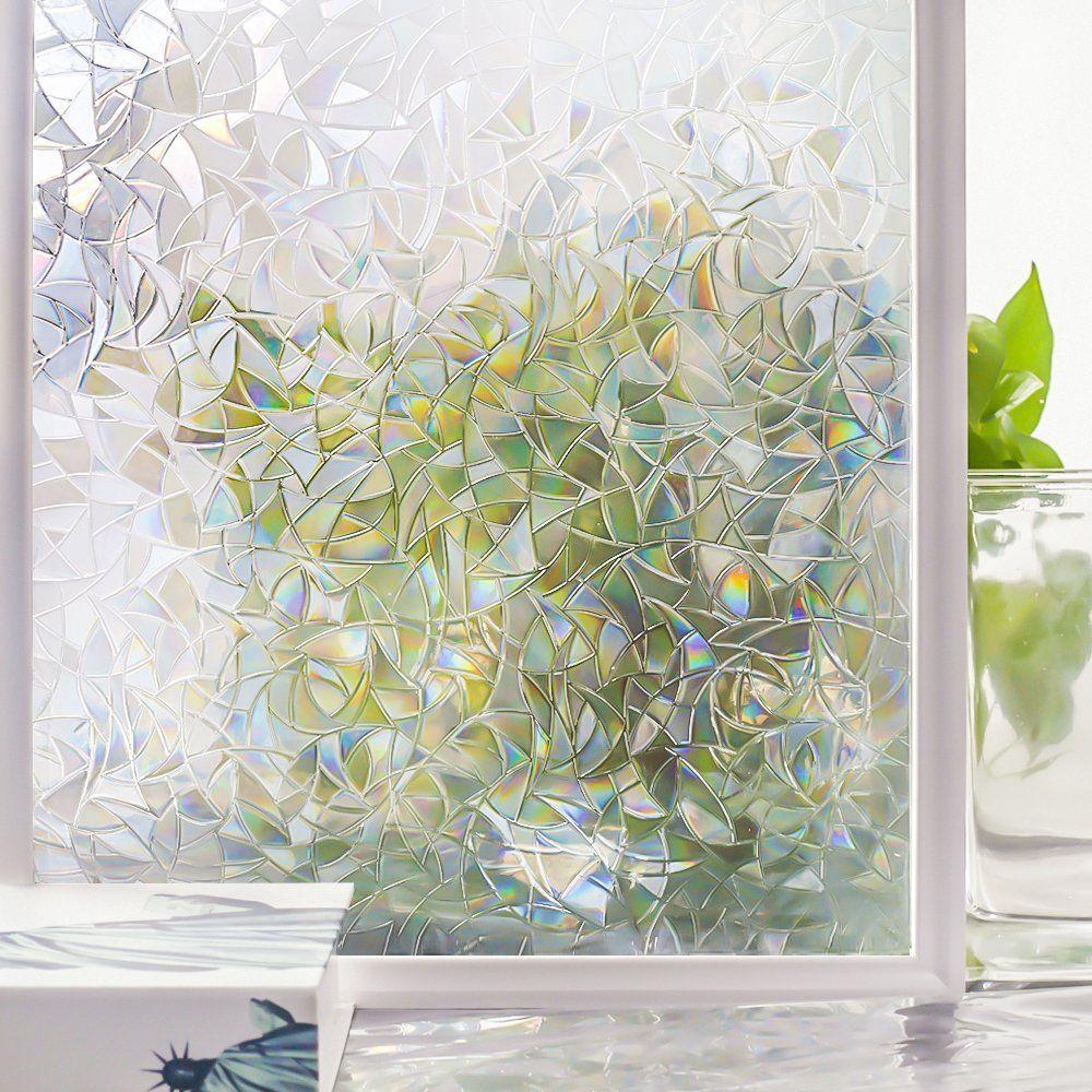 Amazon Com Window Films 3d Decorative Glass Film Non Adhesive Home Window Tint Film Uv B Stained Glass Window Film Decorative Window Film Frosted Glass Window