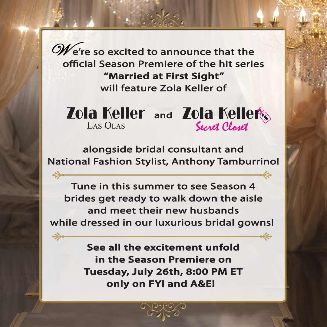 Zola Keller Featured Marriedatfirstsight Season Premiere Fyi Bridal Segment Filmed