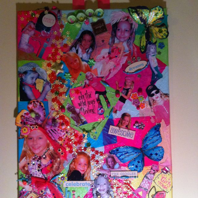 Collage of my daughter Zoe. We used mixed media - bottle caps , old necklaces, sequins and old photos.