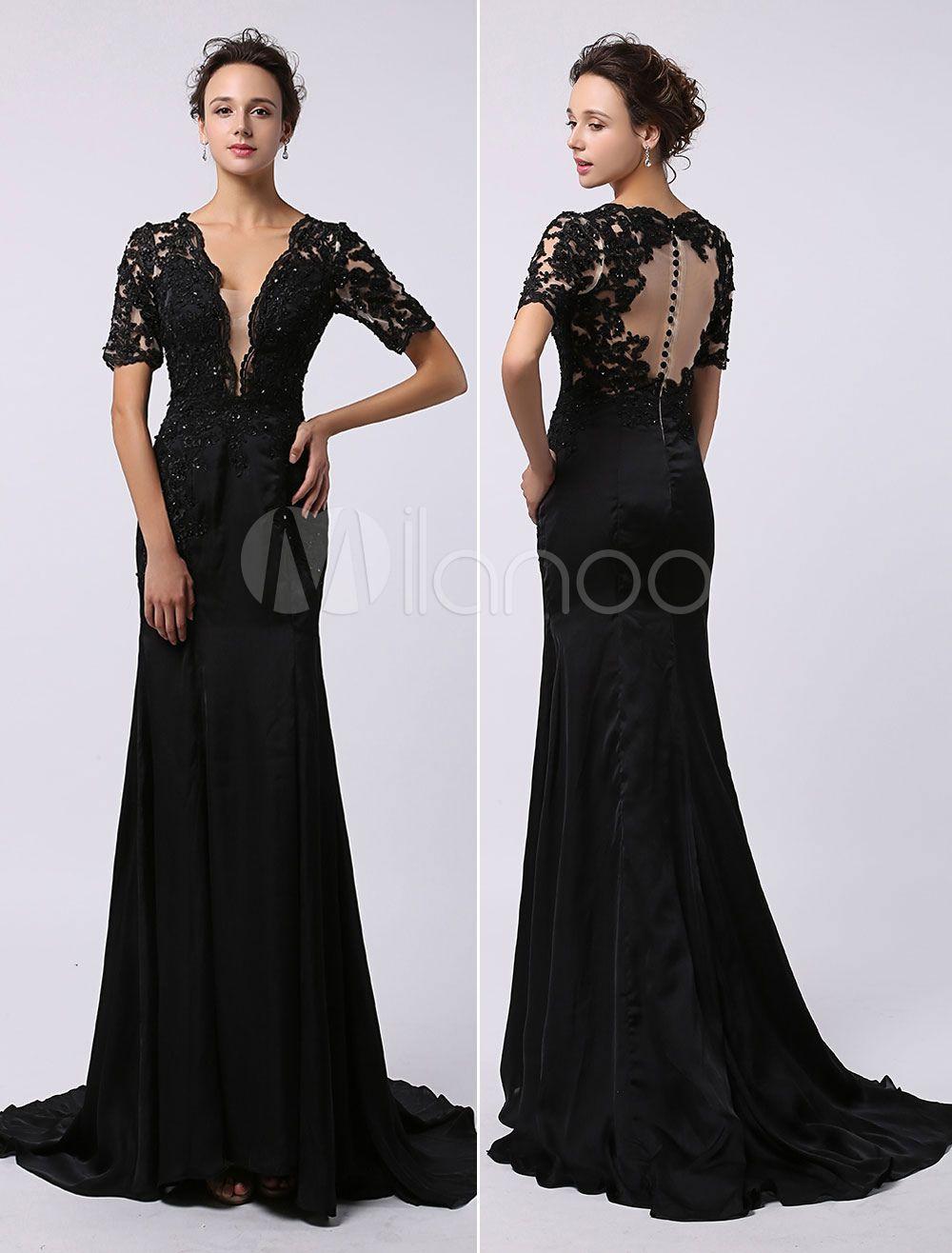 edee3ae101 Black Wedding Bridal Prom Dresses 2017 Long Backless Evening Dress Illusion  Lace Applique Deep V Neck Short Sleeves Keyhole Buttons Back Court Train  Milanoo