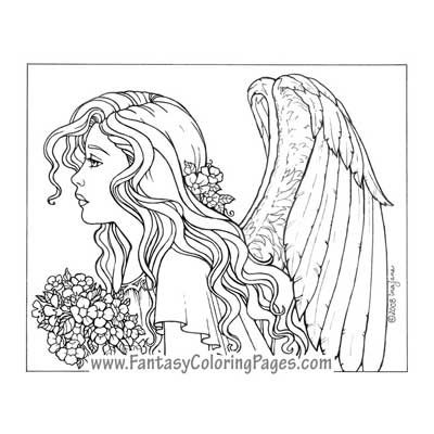 Assiel By Ina Jane Angel Fantasy Myth Mythical Legend Wings Warrior Valkyrie Anjos Goth Gothic Coloring Pages Colouring Adult Detailed Advanced Printable