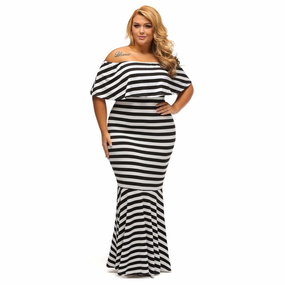 2017 Women Blcak White Striped Ruffle Tube Plus Size Maxi Dress