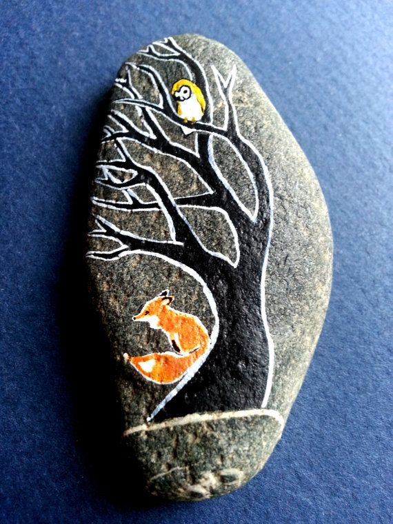 Curious Barn Owl - hand painted on river stone from the Green River