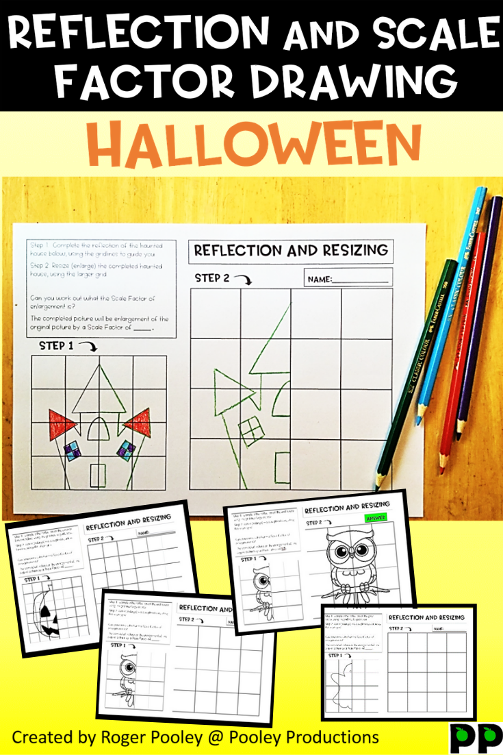Halloween Reflection And Scale Factor Drawing Math Workbook Math Worksheets Envision Math [ 1102 x 735 Pixel ]