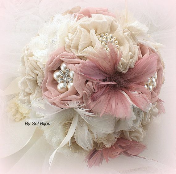 Brooch Bouquet,  Vintage-Style in Ivory, Champagne, Tan, Beige, Blush, Rose and Dusty Rose with Feathers, Lace and Pearls