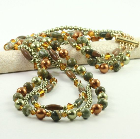 Multi Strand Necklace Green Copper Pearl by AbacusBeadCreations, $106.00