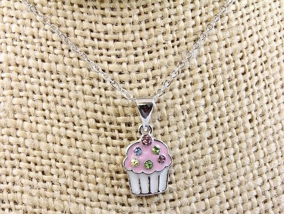 Cupcake Crystal CZ Pendant Necklace Free Shipping $7.49
