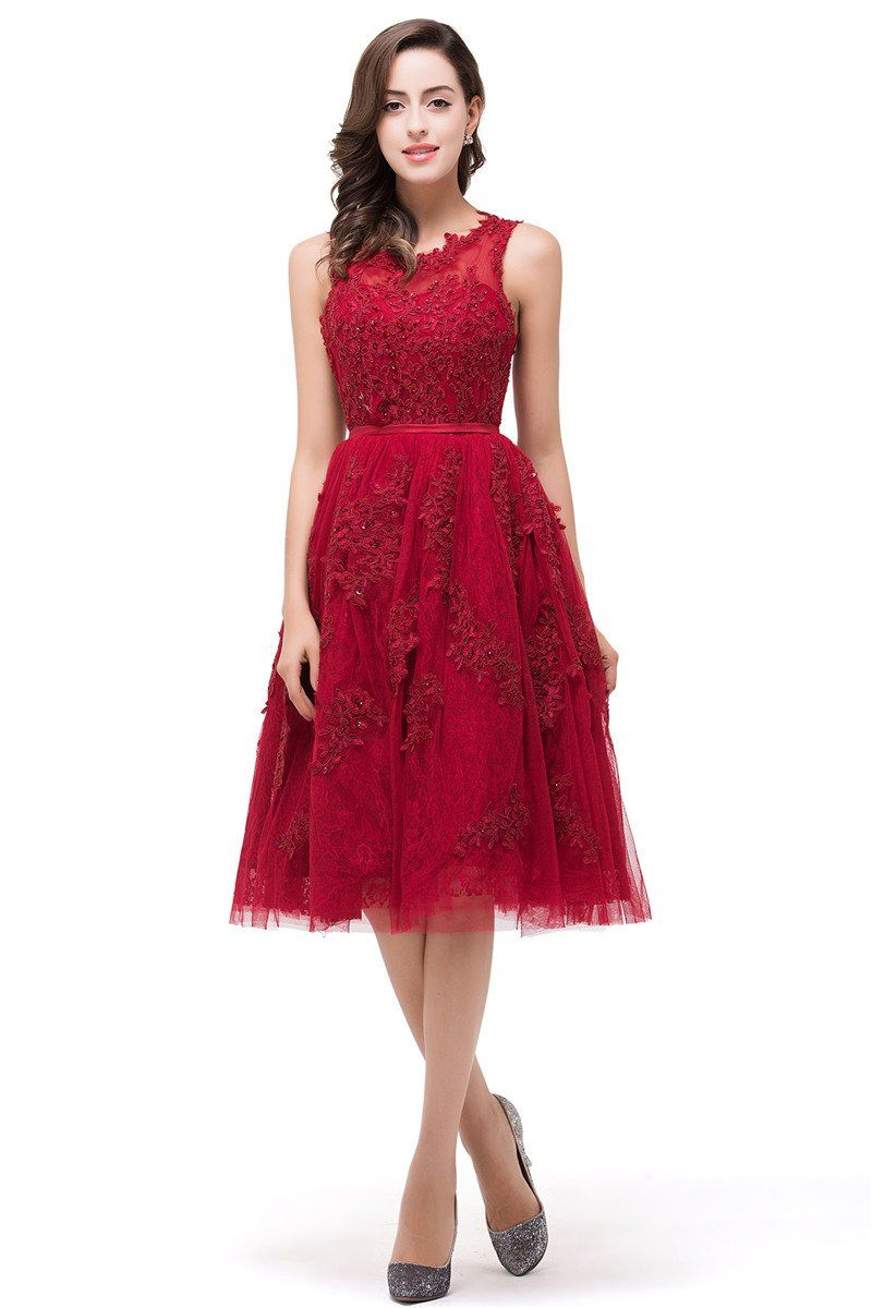 B chicloth aline kneelength red lace tull prom dresses with