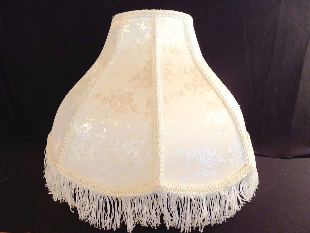 White victorian french style lamp shade damask w fringe cream white victorian french style lamp shade damask w fringe cream color aloadofball Image collections