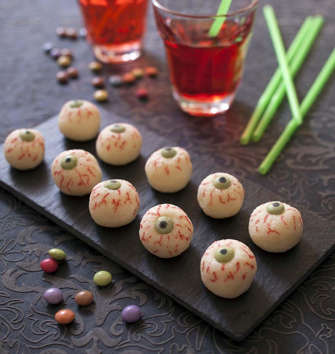 Yeux d'Halloween façon boule coco - Recettes de cuisine Ôdélices